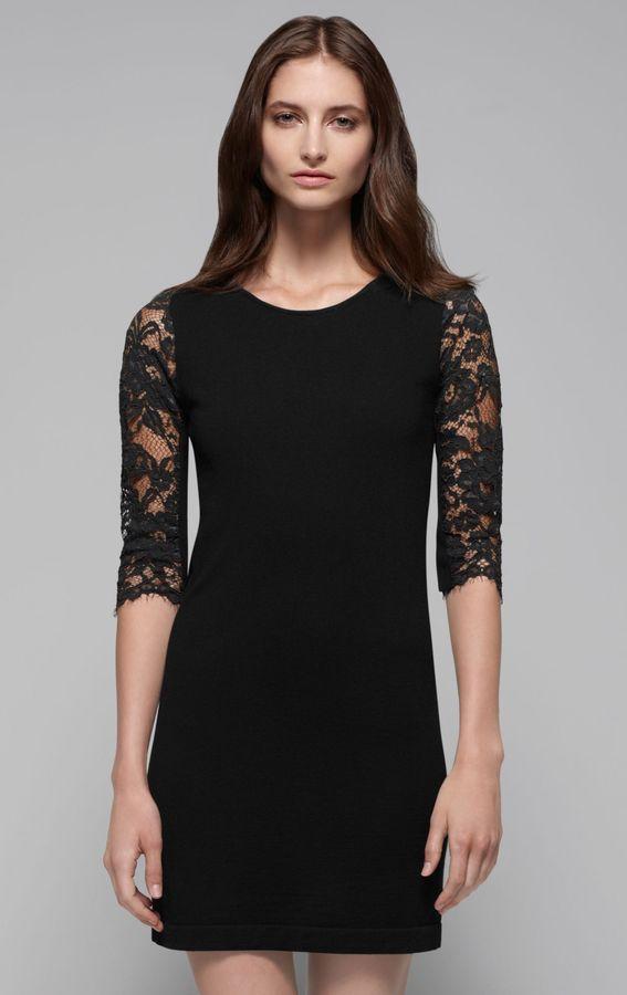 Jiya LC Lace Sleeve Stretch Wool Dress
