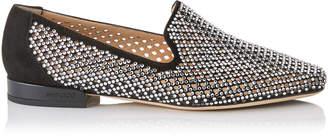 Jimmy Choo JAIDA FLAT Black Diamond Perforated Suede Square Toe Slippers with Crystal Hotfix