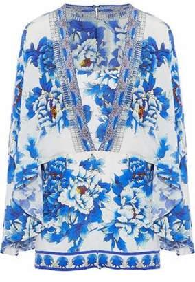 Camilla Cape-Effect Crystal-Embellished Floral-Print Silk Crepe De Chine Playsuit