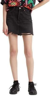 Levi's Premium Deconstructed Denim Mini Skirt