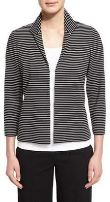 Lafayette 148 New York Bellene Striped 3/4-Sleeve Jacket, Black Multi, Plus Size