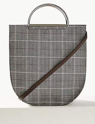 M&S Collection Checked Metal Handle Tote Bag