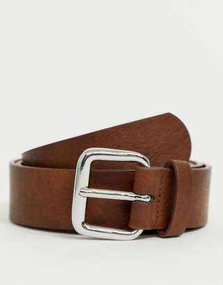 Asos Design DESIGN faux leather wide belt in vintage tan with silver buckle