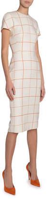 Victoria Beckham Checked Wool Sheath Dress