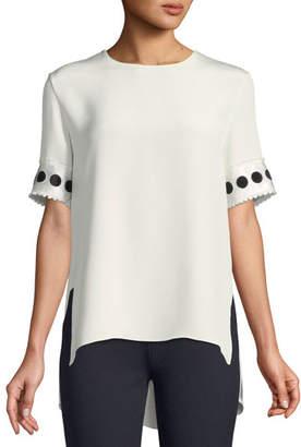 ADAM by Adam Lippes Round-Neck Short-Sleeve High-Low Silk Crepe T-Shirt w/ Ribbon Cuffs