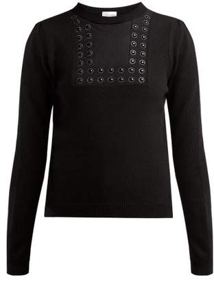 RED Valentino Embellished Wool Blend Sweater - Womens - Black