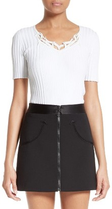 Women's Alexander Wang Embellished Rib Knit Tee $395 thestylecure.com