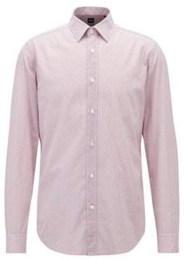 BOSS Hugo Regular-fit shirt in flower-print cotton voile L Open Purple