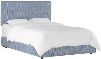 One Kings Lane Novak Bed - Navy Herringbone Linen