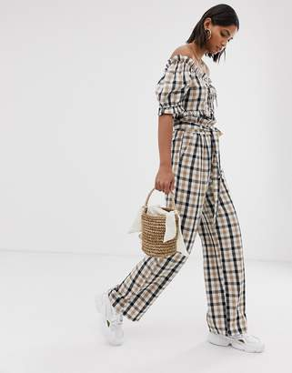 Neon Rose wide leg pants with paper bag waist in check two-piece