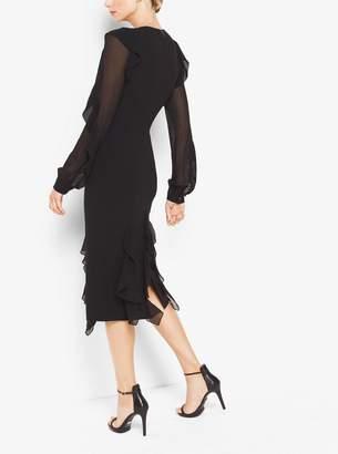 Michael Kors Double-Face Sretch-Wool-Crepe Dress With Bias Silk Chiffon Ruffles