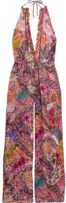 Etro - Embellished Printed Georgette Halterneck Jumpsuit - Bright pink $1,450 thestylecure.com