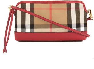 a4e22963ab26 Burberry Mahogany Red Leather and House Check Abingdon Clutch Bag (3647006)