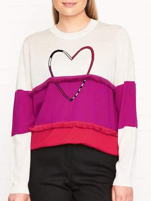 Paul Smith Heart Frill Colour Block Jumper - Pink/White