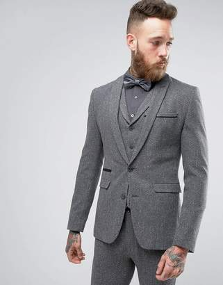 Asos Design WEDDING Super Skinny Suit Jacket In Grey Neppy Texture