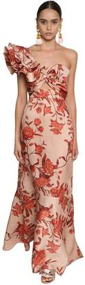 Johanna Ortiz FLORAL PRINT ONE SHOULDER DUCHESSE DRESS