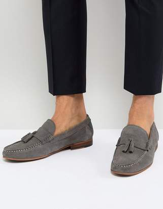 WALK LONDON Walk London Will Suede Tassel Loafers In Gray