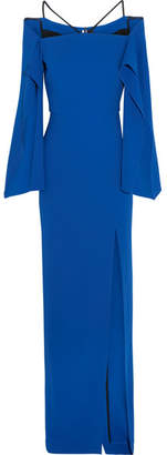 Cheveley Cold-shoulder Crepe Gown - Royal blue