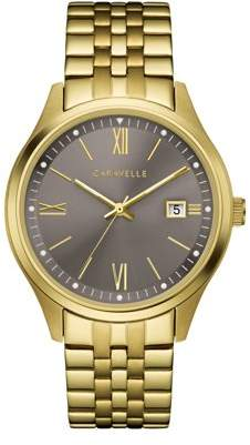 Bulova CARAVELLE Designed by Caravelle Men's Gold-Tone Bracelet Watch - 44B122