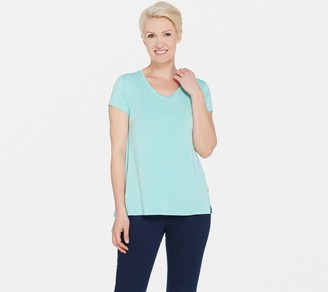 Halston H By H by Essentials V-Neck Top with Forward Notch Detail