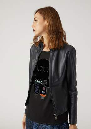 Emporio Armani Biker Jacket In Wet Touch Nappa Leather