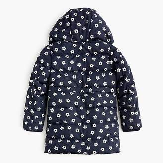 J.Crew Girls' long floral puffer coat with eco-friendly Primaloft®