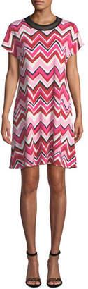 M Missoni Short Cap-Sleeve Zigzag Jersey Dress