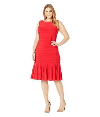 Adrianna Papell Plus Size Matte Jersey Pintucked Midi Sheath Dress with Flounced Hem