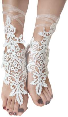 EllieHouse Womens Lace Barefoot Sandals,Beach Wedding Anklet A12