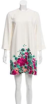 Elie Saab Long Sleeve Floral Print Dress