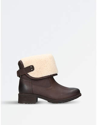 UGG Ladies Brown Waterproof Aldon Wool-Cuff Leather Boots