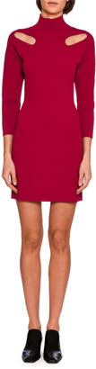 Stella McCartney Cutout-Shoulder Knit Mock-Neck Minidress, Bright Pink