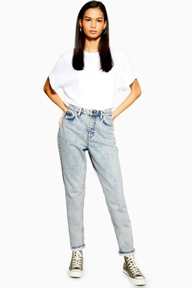 Topshop PETITE Bleach Acid Wash Mom Jeans