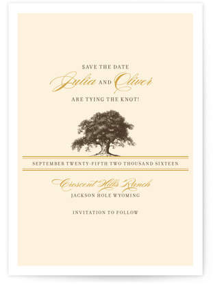 Oak Tree Save the Date Postcards