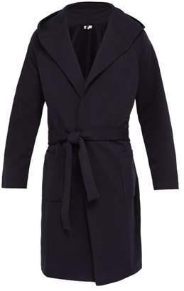 Hamilton And Hare - Hooded Cotton Jersey Robe - Mens - Navy