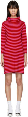 Marc Jacobs Red and Pink Striped Cowl Neck Dress