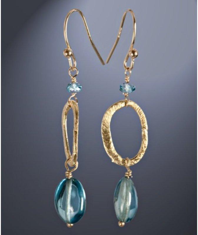 Nancy Cohen blue topaz hoop drop earrings
