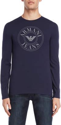 Armani Jeans Navy Slim Fit Long Sleeve Tee