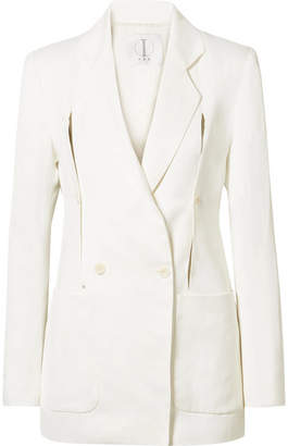 TRE by Natalie Ratabesi - The Linda Convertible Double-breasted Crepe De Chine Jacket - Ivory