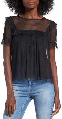 Women's Leith Mesh Ruffle Sleeve Top $55 thestylecure.com
