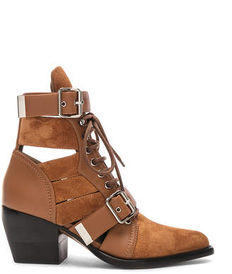 Chloé Lace Up Booties in Natural Brown | FWRD