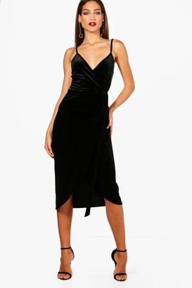 boohoo Tall Megan Wrap Velvet Dress