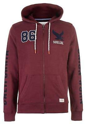 Soul Cal SoulCal Mens USA Zip Hoodie Hoody Hooded Top Long Sleeve Full Print Drawstring