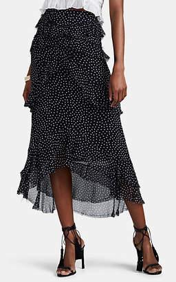 SIR the Label Women's Constance Polka Dot Silk Chiffon Skirt - Blue