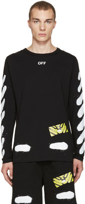 Off-White Black Diagonal Spray Long Sleeve T-Shirt $320 thestylecure.com