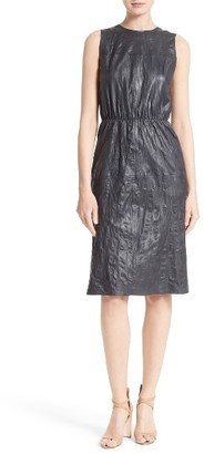 Women's Boss Sylvio Crinkle Leather Sheath Dress $995 thestylecure.com