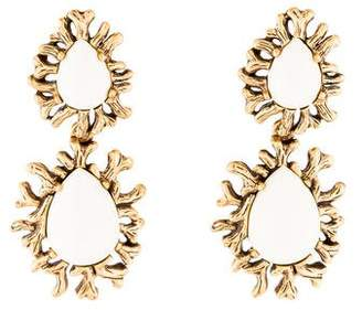 Oscar de la Renta Enamel Clip-On Earrings