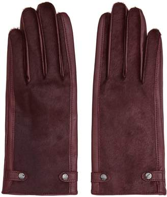 Reiss Jessica - Dents Leather Gloves in Bordeaux