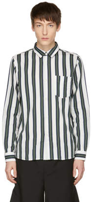 A.P.C. Green and Off-White Striped Alexis Shirt
