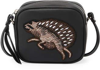 Alexander McQueen Mini Leather Hedgehog Camera Bag, Black Pattern